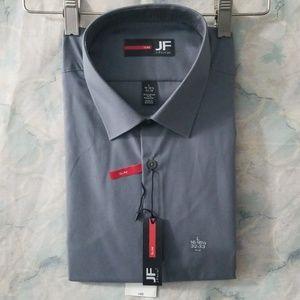 NWT JF Ferrar gray slim cut shirt L 16-16.5 32-33